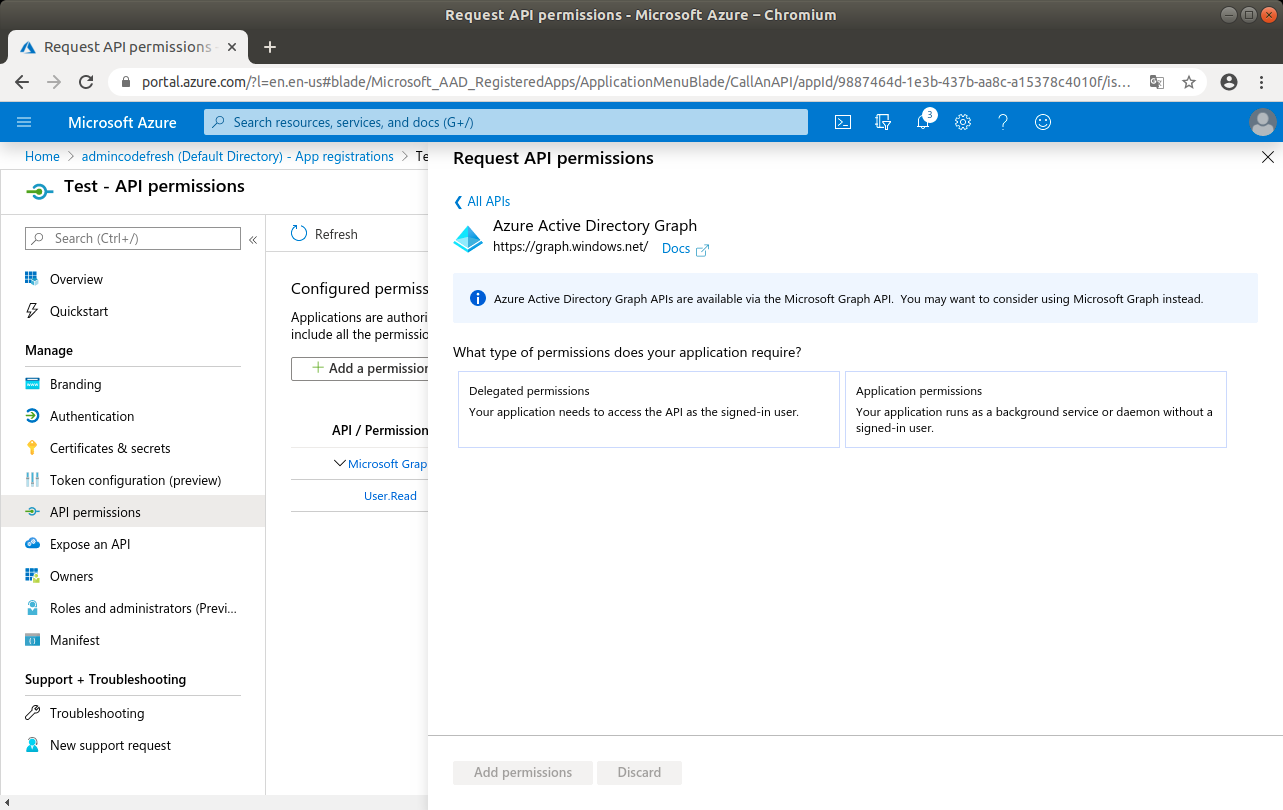 Azure Active Directory Graph entry