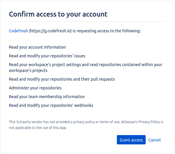 Bitbucket authorization page