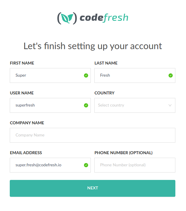 Codefresh account details