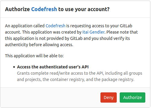 GitLab authorization page