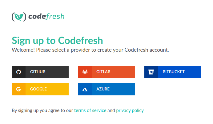 Codefresh sign-up page