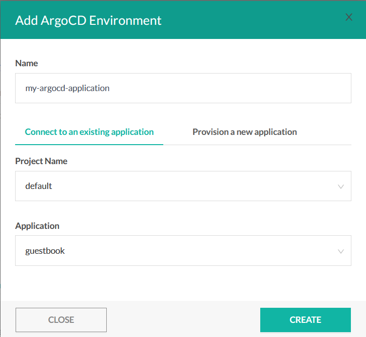 Using an existing ArgoCD application in a Codefresh environment