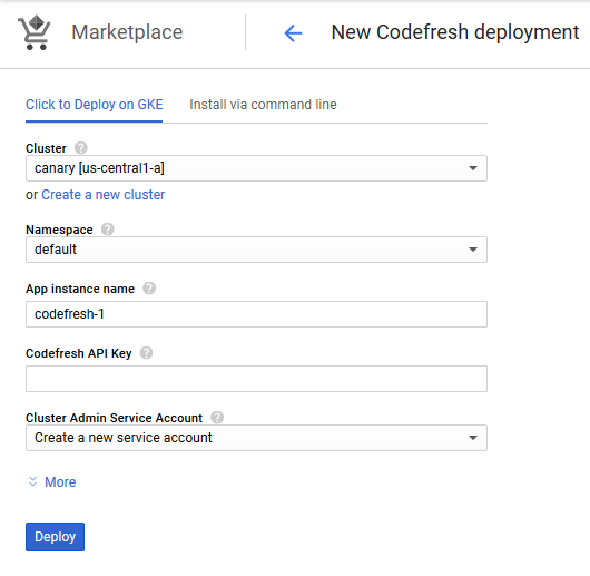 Codefresh installation settings
