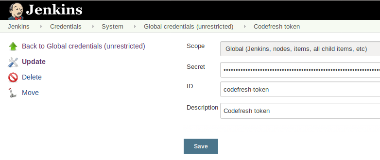 Storing the Codefresh API token in Jenkins