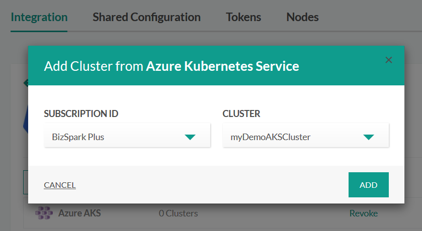 Selecting the Azure cluster