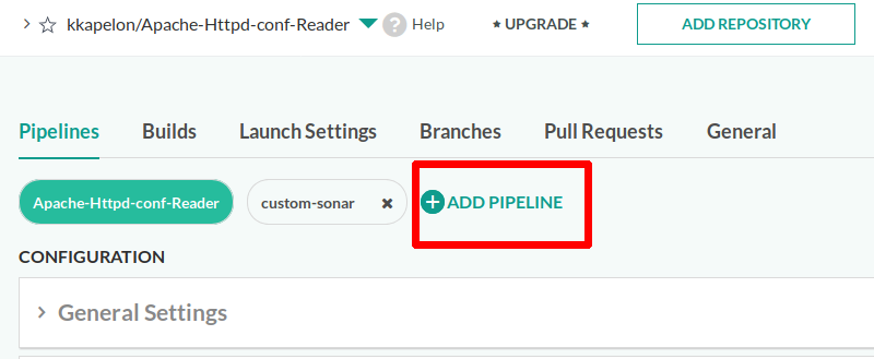 Pipeline attached to GIT repository