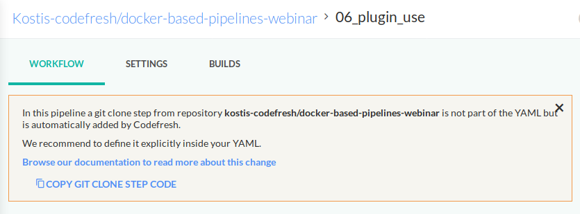 Git clone warning on existing pipeline