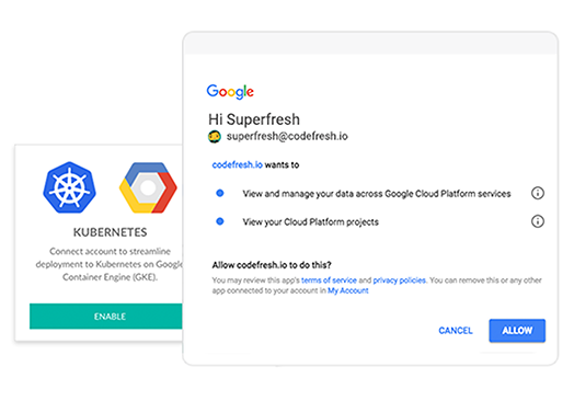 On Codefresh, Connect to Google Cloud
