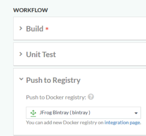 Selecting Bintray as a Docker registry