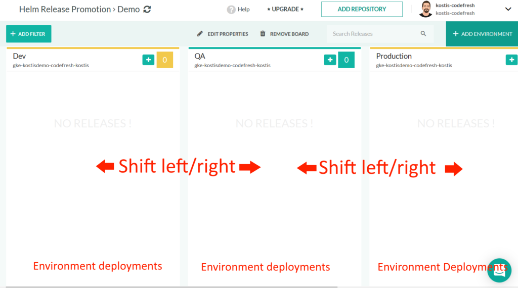 Kanban board for Helm releases