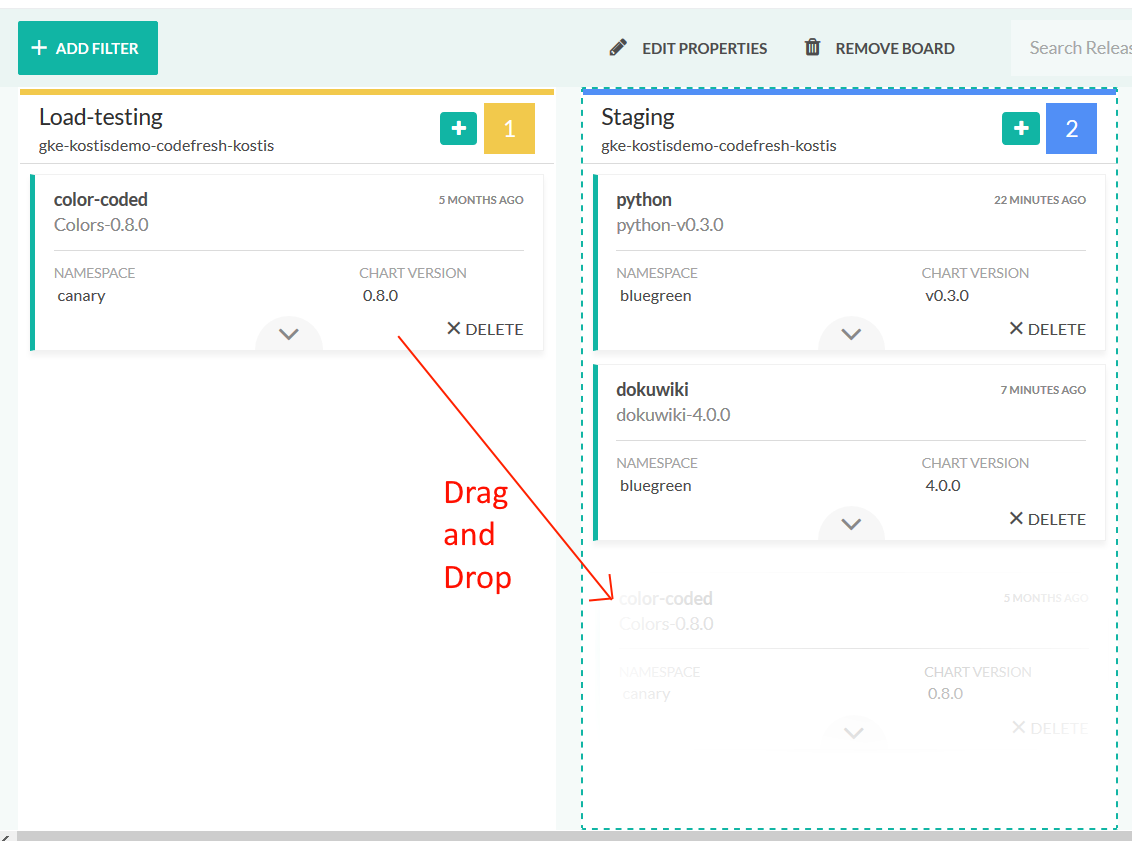 Using a Kanban board to manage and promote Helm Releases