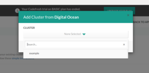 Select DigitalOcean cluster